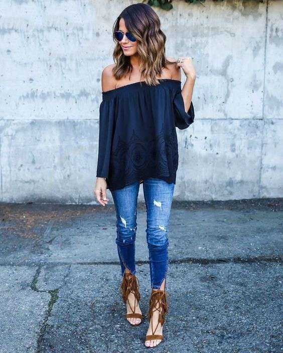 Casual Outfits: navy blue off the shoulder long sleeve top, ripped jeans, brown sandals, sunglasses #outfitideas #brunette #trendy #casual
