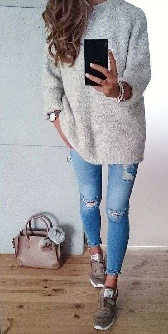 Casual Outfit: gray hoodie, ripped jeans, brown sneakers, beige handbag, watch, bracelets #outfitoftheday #girl #fashion #cute