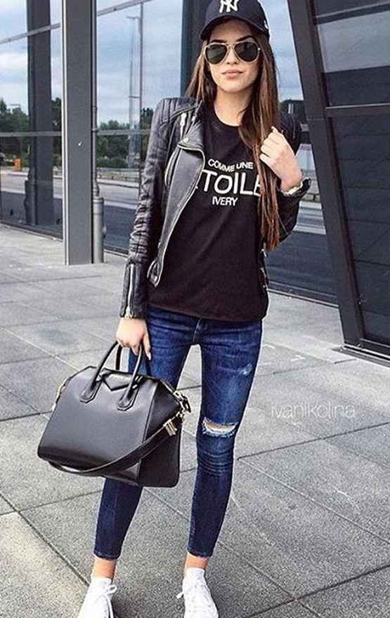 Casual Outfits: black faux leather jacket, black t-shirt, ripped jeans, white sneakers, black cap, black handbag, sunglasses #outfit #black #teen #longhair