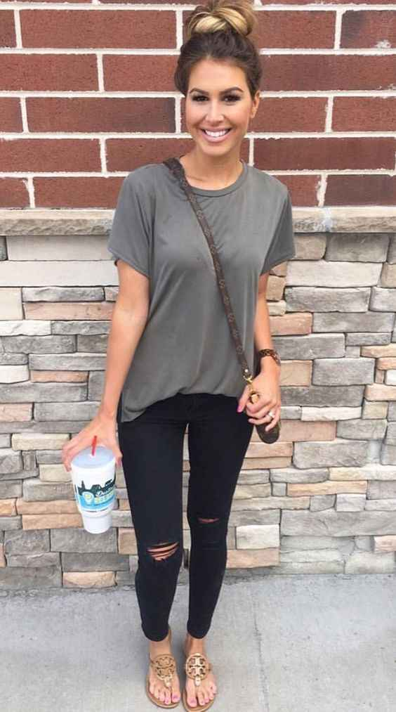 Casual Outfit: gray t-shirt, black ripped jeans, brown crossbody jeans, golden sandals, bracelet #outfitoftheday #hairstyle #girly #casual
