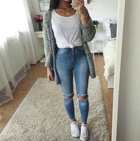 Casual Outfit: white sleeveless knot top, ripped jeans, gray cardigan, white sneakers, necklace, bracelet #outfit #teen #casual #girl
