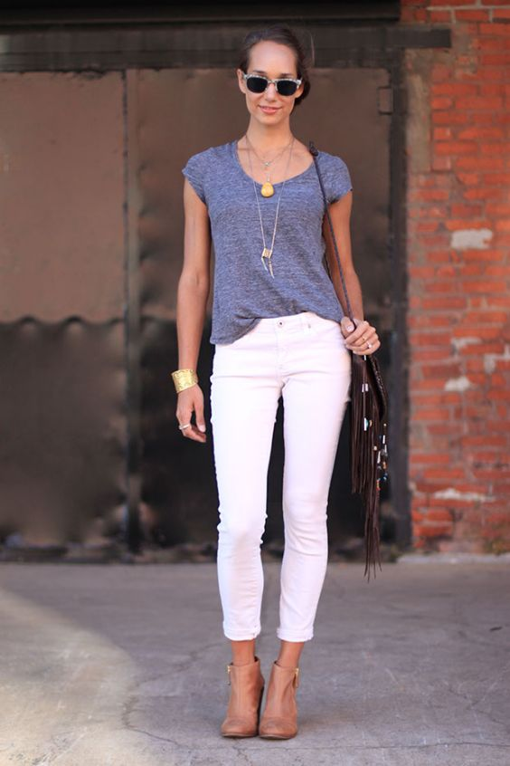 Casual Outfit: gray short sleeve top, white capri pants, camel booties, necklace, sunglasses, brown crossbody bag, bracelet #outfitideas #women #trendy #casual