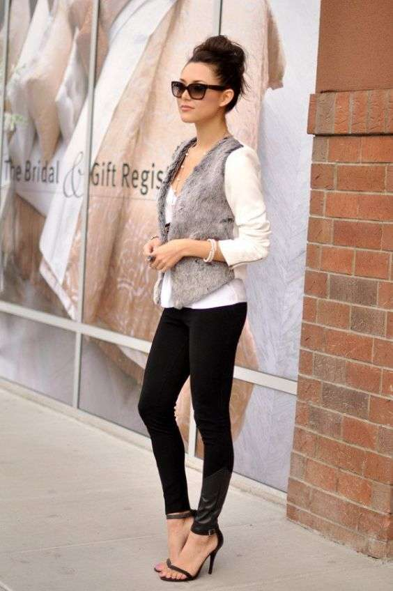 Casual Outfits: gray faux fur sleeveless jacket, white half sleeve top, black skinny jeans, sunglasses, black heels, bracelet #outfit #trendy #dailylook #fashion