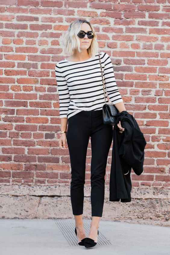 Casual Outfits: black and white striped half sleeve top, black capri pants, sunglasses, black crossbody bag, black jacket, black and white ballerina flats #outfitideas #blackandwhite #blonde #girl