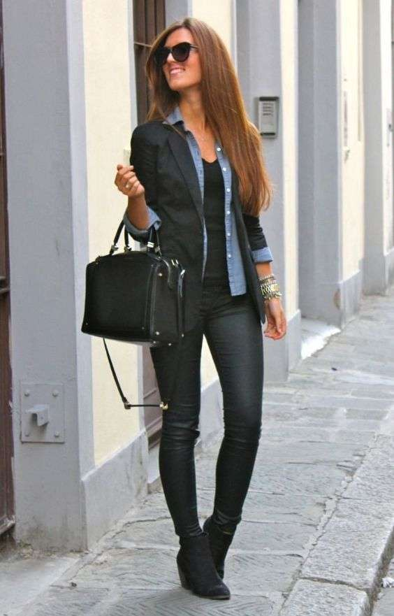 Casual Outfits: black blazer, denim shirt, black top, black faux leather skinny pants, black booties, black handbag, sunglasses, bracelets #outfitideas #longhair #fashion #cute