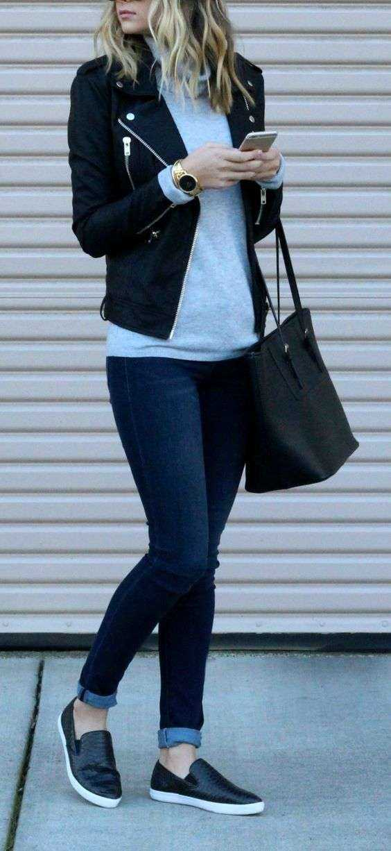 Casual Outfit: black faux leather jacket, gray turtleneck sweater, skinny jeans, black slip on shoes, black handbag #outfit #black #trendy #casual