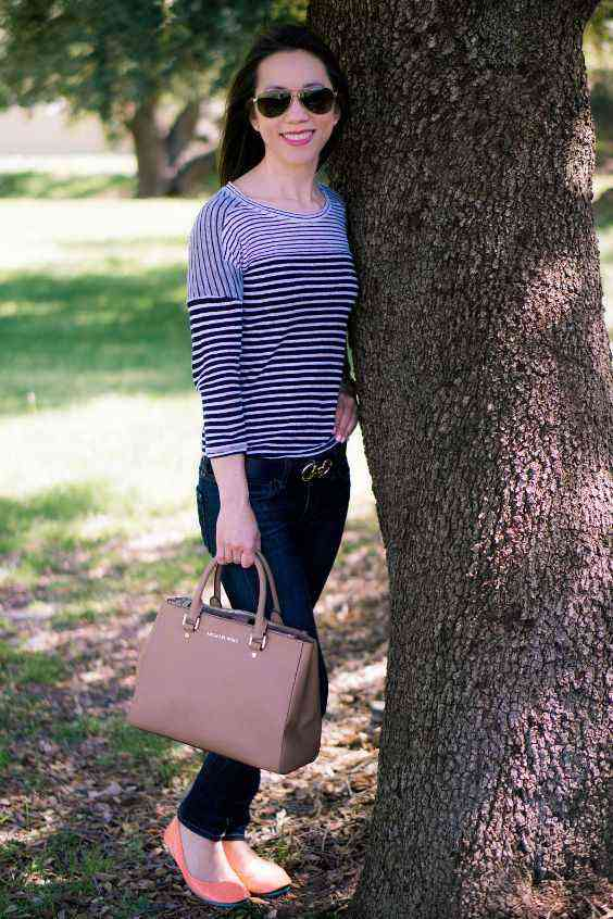 Casual Outfits: gray and black striped half sleeve top, skinny jeans, light orange ballerina flats, light brown handbag, sunglasses #outfitoftheday #sun #women #casual