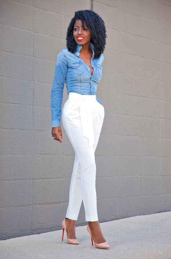 Casual Outfit: denim blouse, white pegged pants, nude heels #outfitideas #trendy #denim #cute