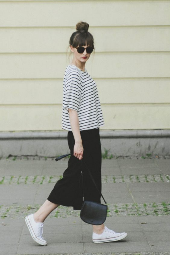Casual Outfits: black and white half sleeve top, black maxi skirt, white sneakers, black crossbody bag, sunglasses #outfit #blackandwhite #hairstyle #cute