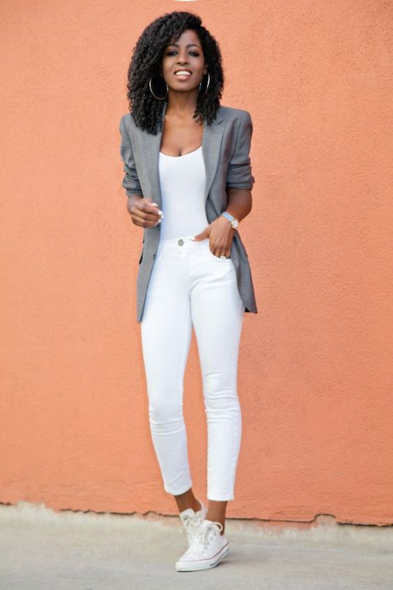 Casual Outfit: gray blazer, white top, white skinny jeans, white sneakers, watch, hoop earrings #outfitoftheday #women #casual #look