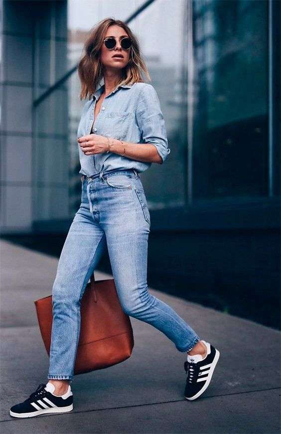 Casual Outfits: denim half sleeve shirt, high waisted jeans, black and white sneakers, camel handbag, bracelet, sunglasses #outfitoftheday #blonde #cute #casual