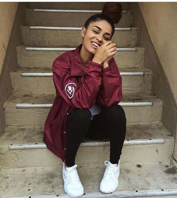Casual Outfits: wine jacket, gray top, black skinny jeans, white sneakers #outfitideas #hairstyle #smile #teen