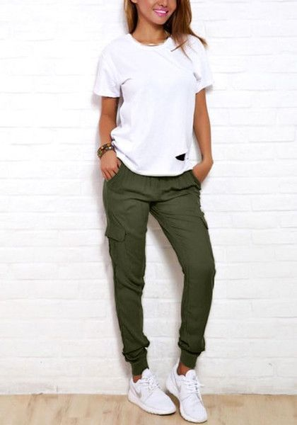 Casual Outfit: white t-shirt, army green jogger pants, white sneakers, bracelet #outfit #teen #girly #fashion
