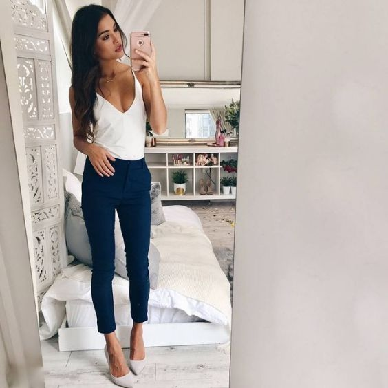 Club Outfit: white spaghetti strap v-neck top, blue high waisted pants, white pump heels #outfit #longhair #brunette #girl
