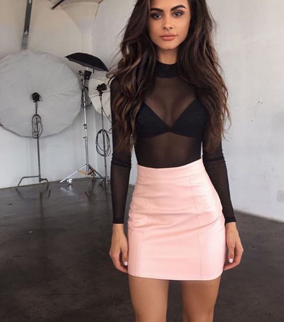 Club Outfit: black mesh long sleeve top, black bralette, baby pink mini skirt #outfit #pink #clubbing #sexy