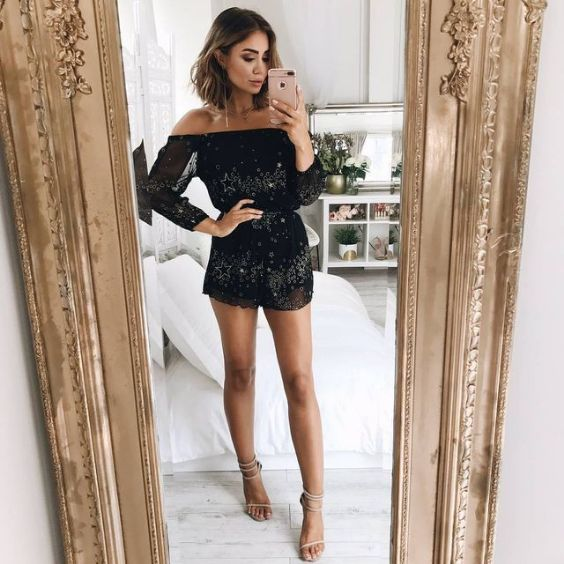 Club Outfits: black and white star print off the shoulder romper, nude heel sandals #outfit #black #clubbing #partyoutfit