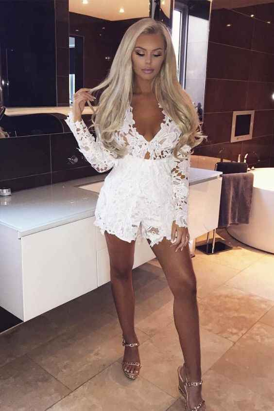 Club Outfits: white lace long sleeve v-neck romper, golden heel sandals #outfit #longhair #blonde #makeup
