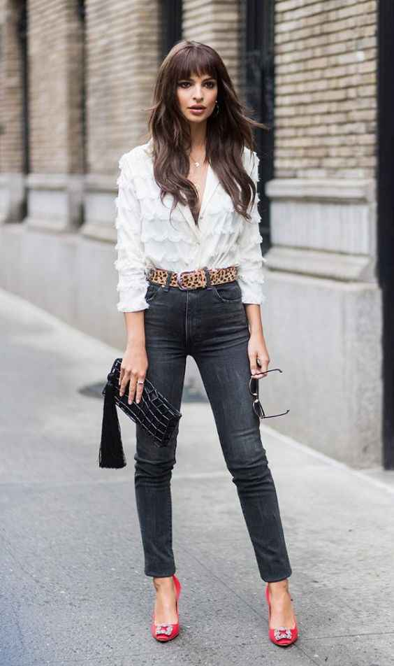 Club Outfit: white v-neck ruffle blouse, black skinny jeans, red heels, leopard print belt, black purse, sunglasses #outfitideas #brunette #longhair #fashion