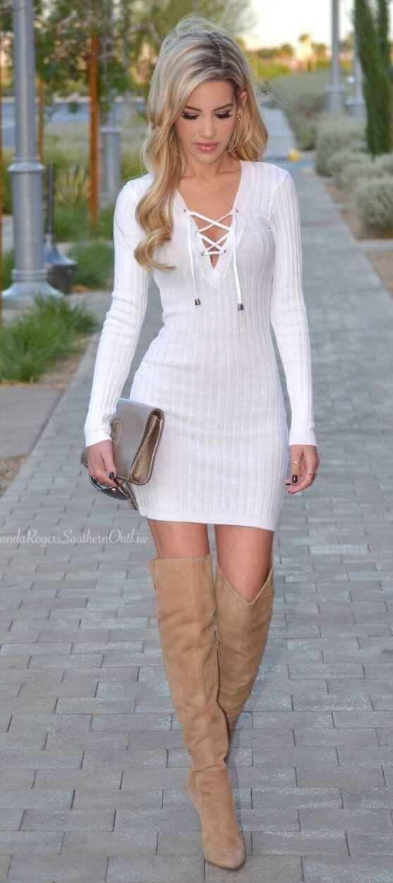 Club Outfit: white lace up long sleeve dress, nude knee high boots, brown purse #outfit #white #club #partyoutfit