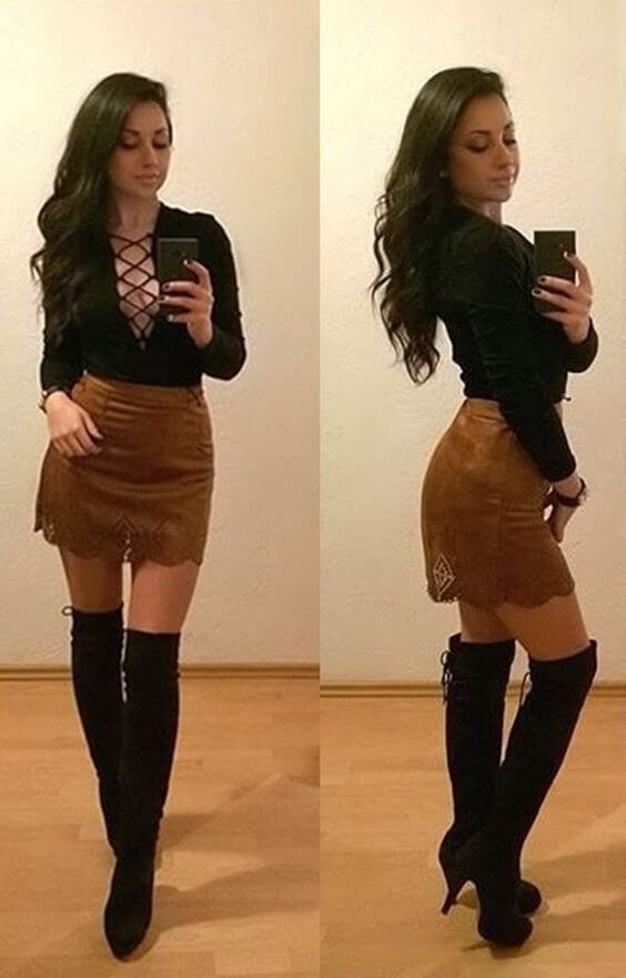 Club Outfits: black lace up long sleeve top, brown lace skirt, black knee high boots, bracelet #outfit #brunette #club #party