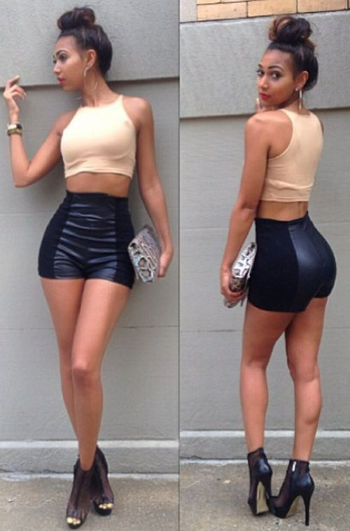 Club Outfit: beige halter crop top, black faux leather mini shorts, black ankle boots, bracelets, hoop earrings, snake print purse #outfitideas #clubbing #sexy #night
