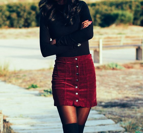 Club Outfit: black turtleneck sweater, wine mini skirt, black knee high boots, watch #outfitideas #black #fashion #trendy