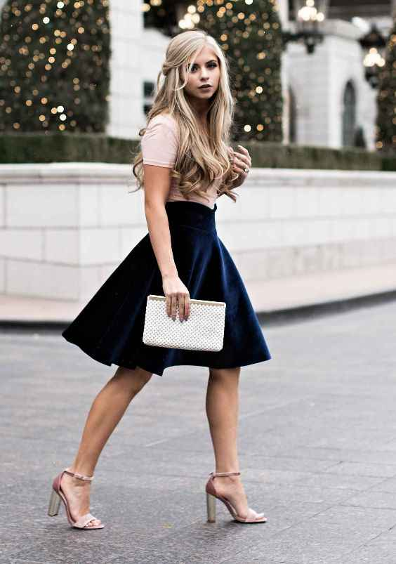 Club Outfits: pink short sleeve top, navy blue velvet skirt, nude heel sandals, white purse #outfit #blonde #pink #fashion