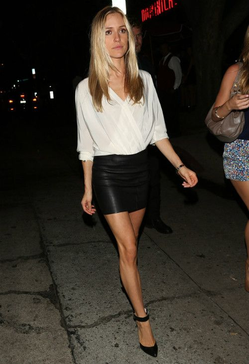 Club Outfits: white half sleeve chiffon blouse, black faux leather mini skirt, black heel sandals, bracelets #outfit #blonde #club #night