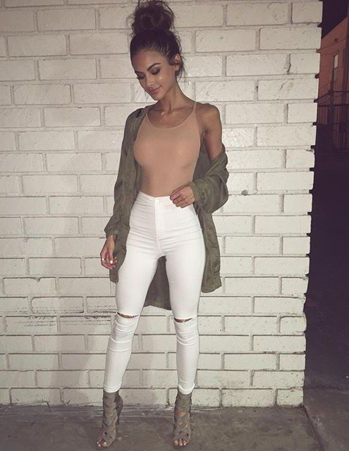 Club Outfit: nude spaghetti strap top, white ripped jeans, army green jacket, army green heel sandals #outfitideas #pink #club #chic