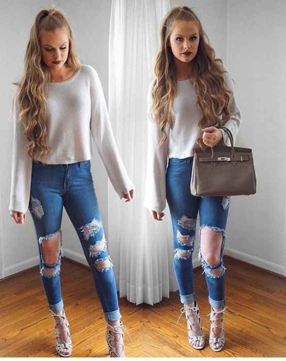 Club Outfit: beige sweatshirt, ripped jeans, beige heel sandals, brown handbag #outfit #blonde #fashion #trendy