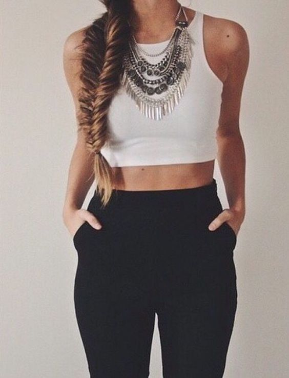 Crop top Outfit: White halter crop top, black pegged pants, necklace #outfitoftheday #accessories #braidhair #casual