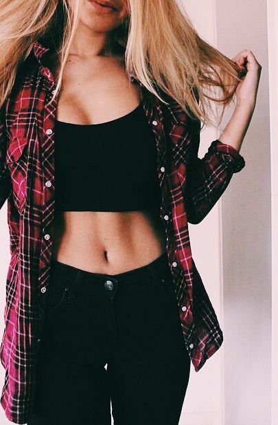 Crop top Outfits: Black bralette top, black skinny jeans, red plaid shirt #outfit #school #tshirt #cute