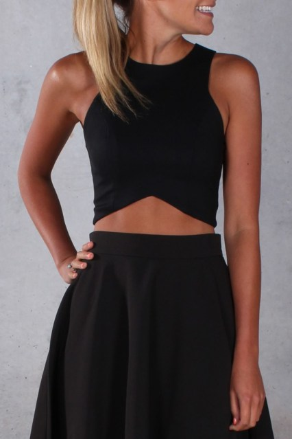 Crop top Outfit: Black cross front crop top, black mini skirt #outfitideas #ring #girl #glam