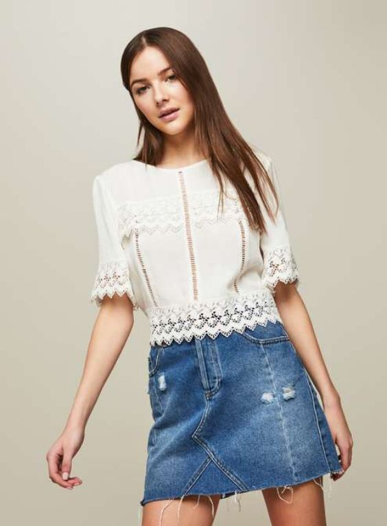 Crop top Outfit: White lace half sleeve crop top, denim mini skirt #outfit #fashion #trendy #cute