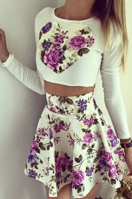 Crop top Outfit: White floral long sleeve crop top, white floral circle skirt, bracelets #outfit #roses #purple #cute