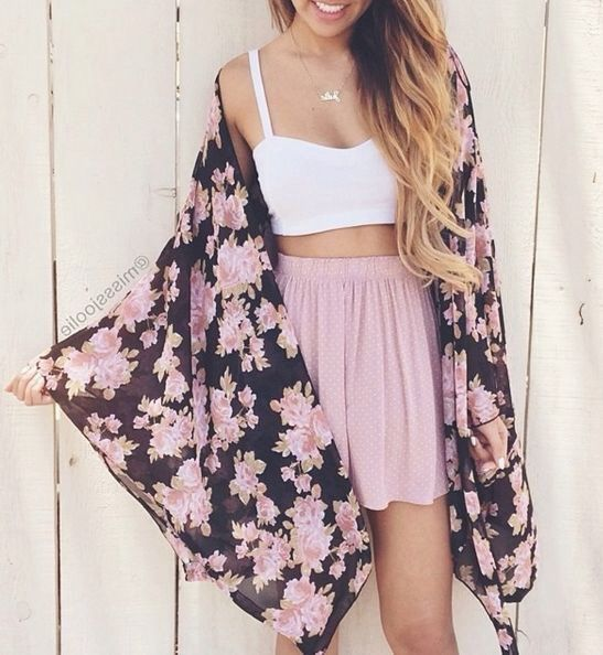 Crop Top Outfits: White bralette top, pink circle skirt, black floral kimono #outfitoftheday #croptop #pink #longhair