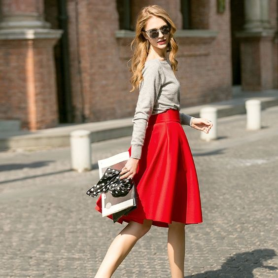 Date Night Outfit: gray sweatshirt, red circle skirt, white and silver purse, black and white point print scarf, sunglasses #outfitideas blonde #red #girly