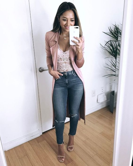 Date Night Outfits: pink coat, white lace v-neck top, ripped jeans, nude heel sandals, necklace #outfit #girl #pink #look