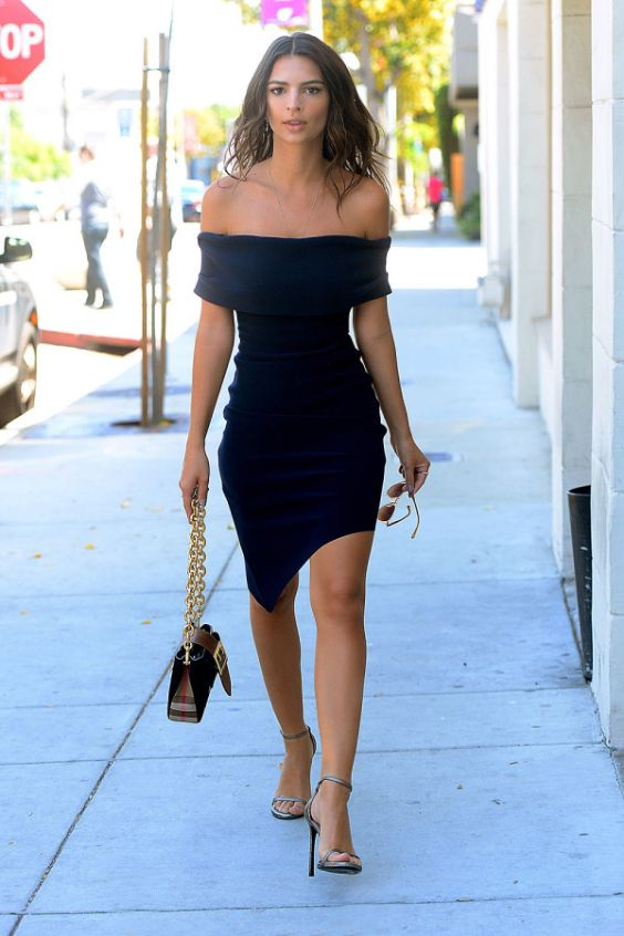 Date Night Outfit: navy blue off the shoulder asymmetric dress, silver t-strap heel sandals, black and golden purse, sunglasses #outfit #cute #elegant #fashion