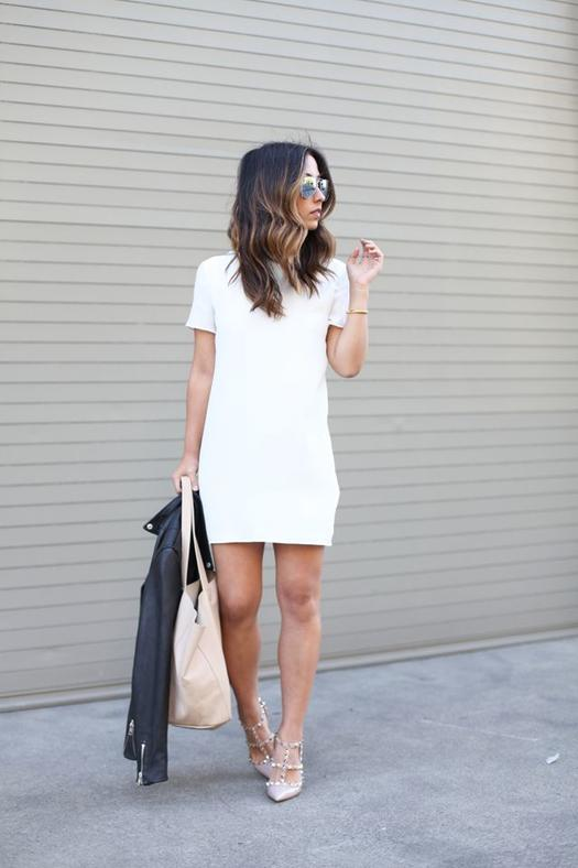 Date Night Outfits: white short sleeve dress, nude pump heels, beige handbag, black faux leather jacket, bracelet, sunglasses #outfitideas #pretty #fashion #chic