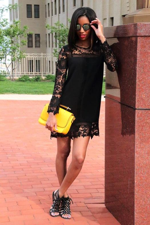 Date Night Outfit: black lace long sleeve dress, black gladiator heels, yellow purse, sunglasses #outfitideas #yellow #look #woman