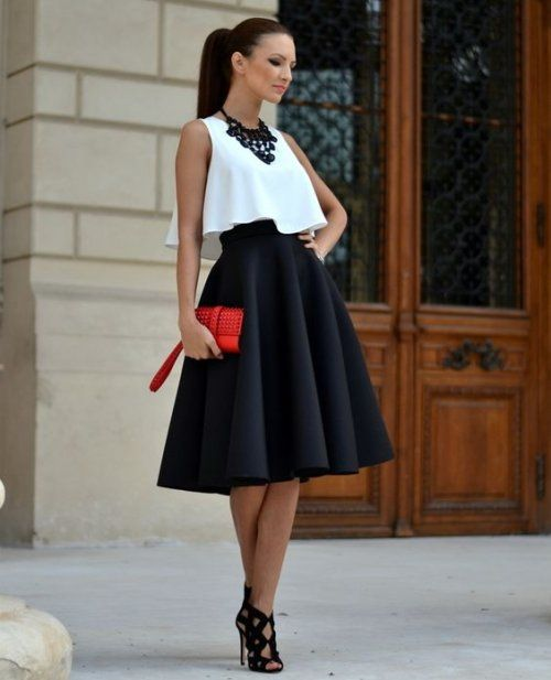 Date Night Outfit: white sleeveless crop top, black circle skirt, black heel sandals, red purse, black necklace #outfit #brunette #makeup #fashion