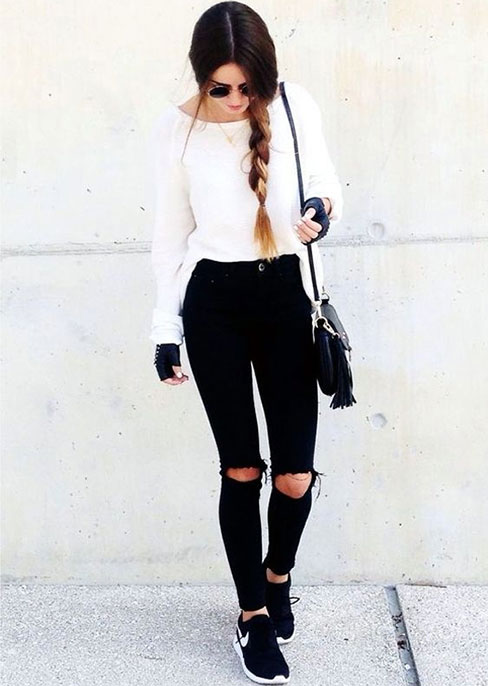 Date Night Outfits: white sweater, black ripped jeans, black and white sneakers, black faux leather fingerless gloves, sunglasses #outfit #braidhair #brunette #girly