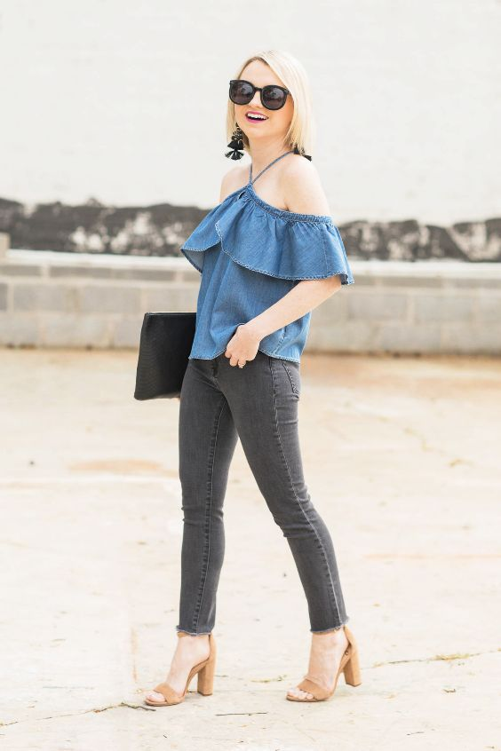 Date Night Outfit: denim halter ruffle top, dark gray skinny jeans, camel ankle strap heel sandals, black purse, black earrings, sunglasses #outfitideas #blonde #girl #trendy