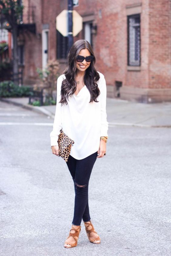 Date Night Outfits: white long sleeve top, ripped jeans, camel heel sandals, sunglasses, bracelets, necklace #outfit #brunette #trendy #chic