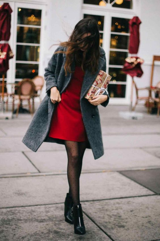 Date Night Outfits: red dress, gray coat, black tights, black booties #outfit #brunette #red #chic