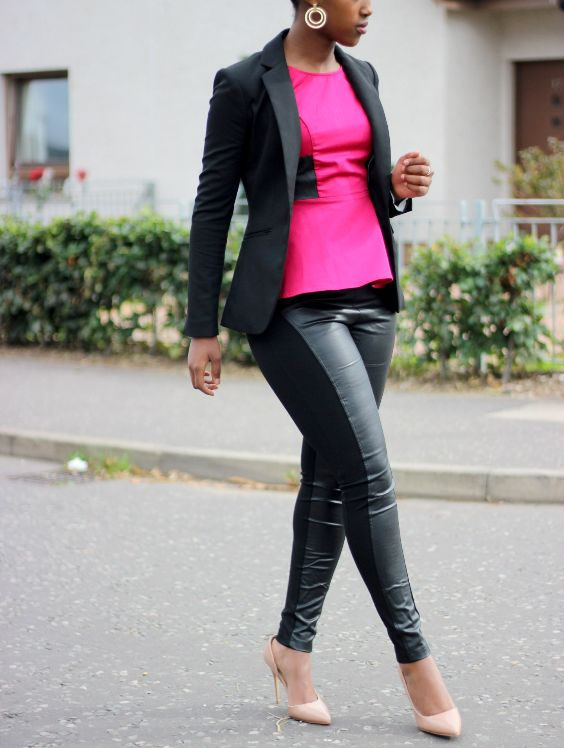 Date Night Outfit: black blazer, fuchsia peplum blouse, black faux leather pants, pink pump heels, hoop earrings #outfit #fuchsia #trendy #date