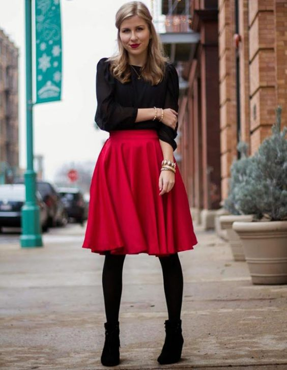 Date Night Outfits: black bishop sleeve chiffon blouse, red circle skirt, black tights, black booties, bracelets, necklace #outfitideas #red #makeup #blonde