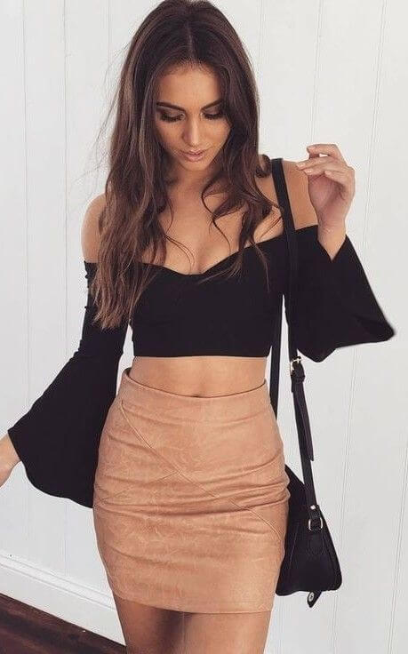 Date Night Outfit: black off the shoulder trumpet sleeve crop top, camel tube skirt, black crossbody bag #outfitideas #fashion #sexy #girl