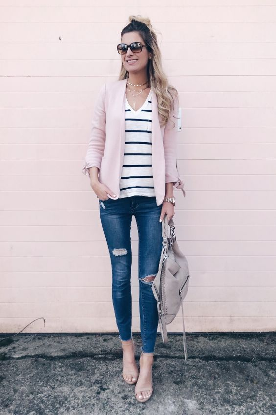 Date Night Outfit: baby pink blazer, black and white striped v-neck top, ripped jeans, nude heel sandals, beige handbag, sunglasses, watch, necklace #outfit #blonde #chic #pink